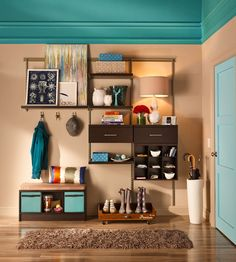 Add a pop of color to your entryway organization to make a bold statement right when guests walk through the door.