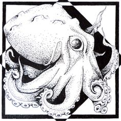Day 1 12/10/15 First aquatic artwork a day image.  Original octopus artwork created with pointillism.