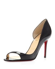 #Christian#Louboutin Toboggan Peep-Toe Patent Red Sole Pump, Black