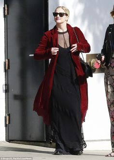 Gothic glamour: New mother Ashlee Simpson looked great as she headed out in a vampy ensemble for lunch at Palihouse in West Hollywood, California, on Sunday afternoon