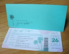 Turquoise, Blush Pink & Gray Palm Tree & Peony Boarding Pass Wedding Invitations