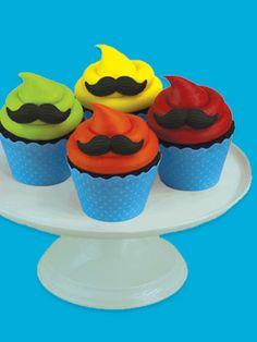 Dapper cakes. (Mustache Cupcakes via Fancy Flours)