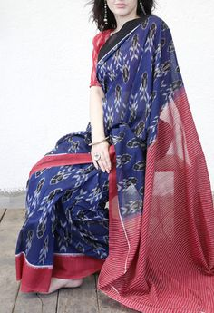 BLUE FISH COTTON SAREE