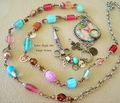Long Boho Necklace, Industrial Chic, Mixed Media, Altered Art, Vintage Charm Necklace Jewelry, Bohostyleme, Kaye Kraus