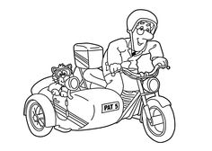 Postman Pat In Tricycle Coloring Pages For Kids, Printable Free