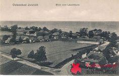 Jarosławiec Jershöft widok z latarni morskiej, pocztówka bez obiegu datowana na 1926 rok