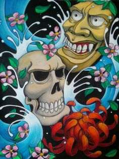 Skull and hannya Mask. Acrylic paint.