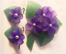 """RARE:Vintage Signed Avon 1983 """"Sweet Violet Collection"""" ~ Pin/Brooch & Pierced Earrings ~ plastic frosted crystal set with simulated pearl centers"""