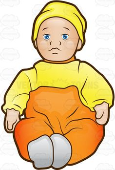 Baby Doll With A Cap And Baggy Clothes #accessories #baby #blush #bonnet #cap #cloth #clothes #clothing #cotton #doll #dolly #dress #girl #girltoy #hair #miniature #miss #outfit #play #plaything #porcelain #shoes #skirt #stuffed #synthetic #toy #toysforgirls #vector #clipart #stock