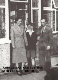 The young John Lennon, a rare shot with Aunt Mimi & Uncle George. Les Beatles, John Lennon Beatles, Ringo Starr, George Harrison, Paul Mccartney, The Beetles, Liverpool, Julian Lennon, Jhon Lennon
