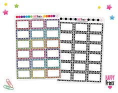 Doodle Frame, Half box Planner Stickers by HappyPrints1 on Etsy