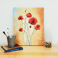 SALE! This gorgeous poppy art is my original flower painting on canvas titled California Poppies. The red poppies are contrasting against the beautiful earth-toned natural background. The artwork will make your room visually beautiful and relaxing. California Poppies flower art painting is created on back stapled gallery wrapped canvas using my unique acrylic painting technique, wired and ready to hang right out the package! Sides are painted in black - no frame required! Certificate of...