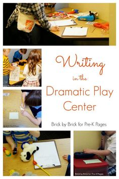 Writing in the Dramatic Play Center. Ideas to make writing meaningful and fun at home or in your preschool classroom.- Pre-K Pages