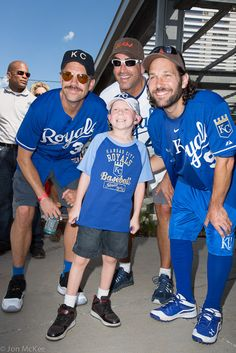 Jason Sudeikis, Paul Rudd and Rob Riggle hosted the Big Slick Celebrity Weekend to help the kids at Children's Mercy Hospital in Kansas City. Brayson got to throw out the first pitch at the game!