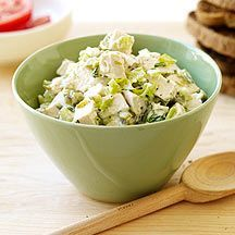 Weight Watchers chicken salad...I used rotisserie chicken, added fresh dill, and replaced sour cream with fat free Greek yogurt. SO GOOD from Weight Watchers