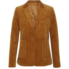 Topshop Unique Otely cotton-corduroy blazer (275 CAD) ❤ liked on Polyvore featuring outerwear, jackets, blazers, brown, brown corduroy jacket, corduroy blazer, single button blazer, oversized blazer and one button jacket