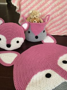 Custom order handmade #crochet #fox #rug #pillow #basket. You can see video on www. Facebook.com/pbdynamite/ For any order contact me on etsy.com/shop/peanutbutterdynamite