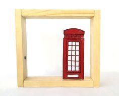 Καδράκι τηλεφωνικός θάλαμος London από αλουμίνιο, ζωγραφισμένο στο χέρι.