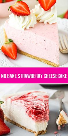 his No Bake Strawberry Cheesecake is supremely creamy and made with fresh strawberry jam that is swirled over the top. No gelatin is needed for this decadent summer treat. recipes for two recipes fry recipes Potluck Desserts, Summer Desserts, No Bake Desserts, Easy Desserts, Delicious Desserts, Dessert Recipes, Yummy Food, Strawberry Cheesecake, Strawberry Jam