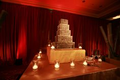 Enhanced Lighting installed beautiful red silk drapery to create a special room at this Ritz SF Wedding. The cake was lit with pinspotting. Event Lighting, Red Silk, Corporate Events, Drapery, San Francisco, Candles, Create, Room, Wedding