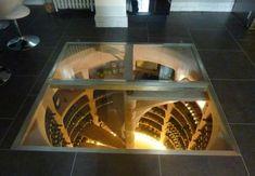 Trappe en verre & inox + châssis fixe Caves, Design Despace, Wine Cellar Basement, Wine Cellar Design, Trap Door, Glass Floor, Wine Storage, Little Houses, Home Staging