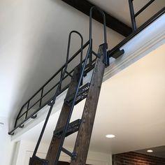 Loft Railing, Loft Stairs, Loft Ladders With Handrail, Cabin Loft, Tiny House Cabin, Loft Access Ideas, Cottage Stairs, Wall Ladders, Ship Ladder