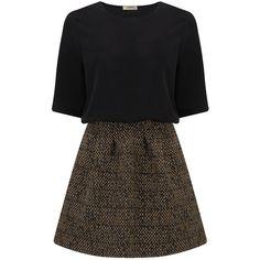 Ba&sh Demy Dress - Ochre ($305) ❤ liked on Polyvore featuring dresses, ochre, three quarter sleeve dress, zip dress, lbd dress, short cocktail dresses and 3/4 length sleeve dresses