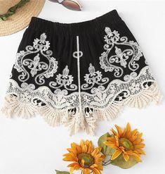 e3ed526a550 Lace Applique Embroidery Boho Short