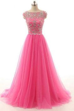 Hot Pink Beaded Long Zipper Modest Evening Prom Dresses,Sexy Bridesmaid Dress ,Cheap Prom Dress