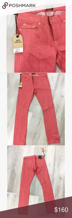 Red Civilianaire denim jeans Retails for $250 • NWT brand new •Made in Los Angeles • size 27 • 100% cotton • super slim & stretch Civilianaire  Jeans Skinny