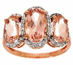 2.70 ct tw Morganite & 1/5 ct tw Diamond Ring, 14K