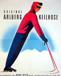 Arlberg ski poster - Do you get why I pinned this to my Typography board? Vintage Advertisements, Vintage Ads, St Anton, Vintage Ski Posters, Ski Equipment, Sports Posters, Nordic Walking, Luggage Labels, Austria Travel