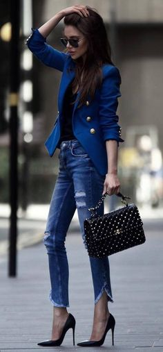 amazing office style   blue blazer + top + bag + ripped jeans + heels