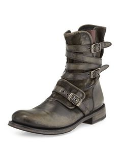 Multi-Strap Buckle Boot, Charcoal by John Varvatos at Neiman Marcus. John Varvatos, Biker Boots, Buckle Boots, Samurai Fashion, Marcus Johns, Charcoal Dress, Discount Mens Clothing, Riding Gear, Motorcycle Outfit