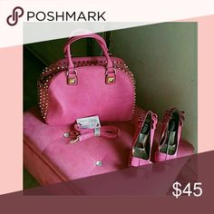 Buy The Handbag Heels Free Fushia satchel bag with gold studded on side. Inside zipper  25 inch strap with 2 handles Frh heels with bow on pleated heels. Please ask for Heel Size....One 1 bag it's must going with the free heels. I'm giving Back.. Fhr Shoes Heels