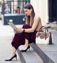 neutral turtleneck w/ statement burgundy crop trousers | Skirt the Ceiling | skirttheceiling.com