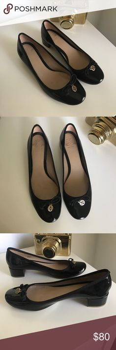 Tory Burch patent leather heels Great condition! Wear on soles. True size. No box. Price firm unless bundled. Black, gold Tory Burch Shoes Heels