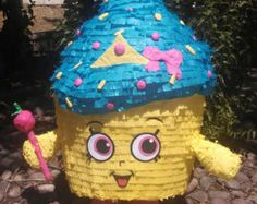 Stands approx 30in tall & can hold 5-8lbs of goodies (candy not included). All pinatas can be customized in size, color or personalized. Contact me to work out the details.  I take allot of pride in my work therefore, please allow 3-5 weeks per piece.  If you choose to pickup in the Moreno Valley or Redlands, CA area, I will include the stick &25ft rope.  Please include your need by date & phone #in the notes when you place your order.  Thank you for your consideration.