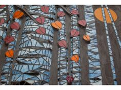 Contemporary Glass Mosaics In addition to wall panels and installations, see these new Relief Glass Mosaics:Birch Forest, Koi Dance and Life to Life Birch Forest 30 inches high and 5 feet wide Birch Forest detail. Mosaic Crafts, Mosaic Art, Mosaic Glass, Fused Glass, Glass Wall Art, Stained Glass Art, Wine Bottle Wall, Wine Glass, Tree Of Life Artwork