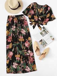 Shop Floral Print Knot Top With Wide Leg Pants online. SheIn offers Floral Print Knot Top With Wide Leg Pants & more to fit your fashionable needs. Holiday Outfits, Summer Outfits, Casual Outfits, Cute Outfits, Summer Clothes, Look Fashion, Girl Fashion, Fashion Dresses, Womens Fashion