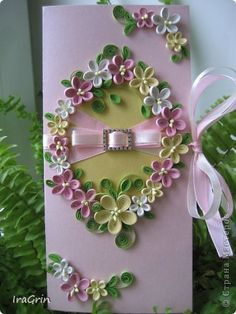 Pastel flowers quilled card