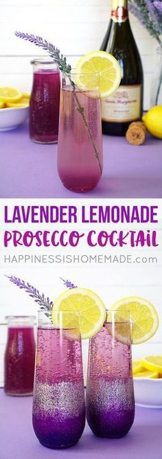 Lavender Lemonade Prosecco Cocktails + DIY Ombre Glitter Champagne Glasses are t., Food And Drinks, Lavender Lemonade Prosecco Cocktails + DIY Ombre Glitter Champagne Glasses are the perfect pair for a Sunday Brunch with your favorite girlfriends! Champagne Brunch, Cocktails Champagne, Beste Cocktails, Summer Cocktails, Cocktail Drinks, Alcoholic Drinks, Champagne Glasses, Lemonade Cocktail, Bourbon Drinks