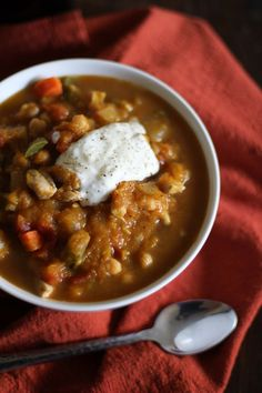 Pumpkin Chicken Chili - - - > www.theroastedroot.net. Would be great to replace chicken for turkey after Thanksgiving.
