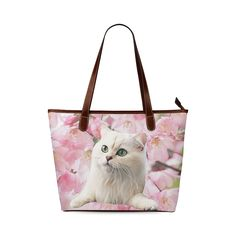 Cat and Flowers Shoulder Tote Bag. FREE Shipping. #artsadd #bags #cats