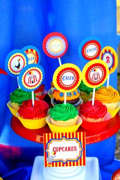 CIRCUS CUPCAKE TOPPERS For The Greatest Show On by kalliegalaz, $3.99