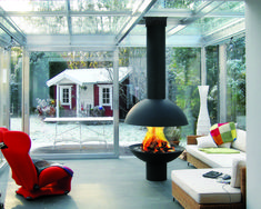 photo of contemporary designer traditional red diligence international conservatory with fireplace open fire wood burner Open Fireplace, Fireplace Wall, Fireplace Design, Focus Fireplaces, Freestanding Fireplace, Log Burner, Rustic Interiors, Architecture, My Dream Home