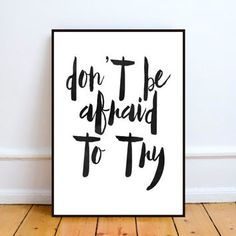 Don't Be Afraid To Try Watercolor Motivational by TypoArtHouse Motivational Wall Art, Inspirational Posters, Dont Be Afraid, Word Art, Poster Wall, Wall Decor, Watercolor, Words, Etsy