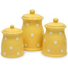 Yellow Polka Dots 3 pc Canister Set...Would love this in lime, aqua, or red