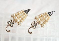 Vintage Pair Umbrella Figural Brooch Pins Faux Pearl and Enamel 1950s