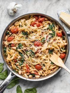 This Tuscan White Bean Pasta is a fast and flavorful dish that is perfect for weeknight dinners. The caramelized garlic, basil, and Parmesan pack a huge flavor punch! Use veggie pasta and greek yogurt instead of regular pasta and butter to save! Pasta Recipes, Cooking Recipes, Pasta And Beans Recipe, Cooking Games, Linguine, Greek Pasta, Vegetarian Recipes, Healthy Recipes, Orzo